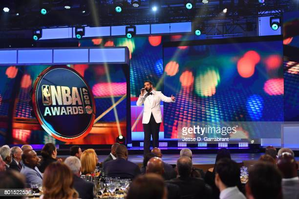Drake is the host during the 2017 NBA Awards Show on June 26 2017 at Basketball City in New York City NOTE TO USER User expressly acknowledges and...