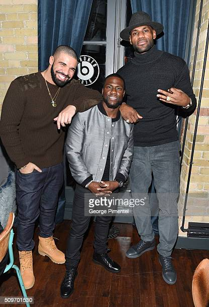 Drake Kevin Hart and LeBron James attend the Beats In The Six And Drake Welcome Dinner at Fring's on February 11 2016 in Toronto Canada