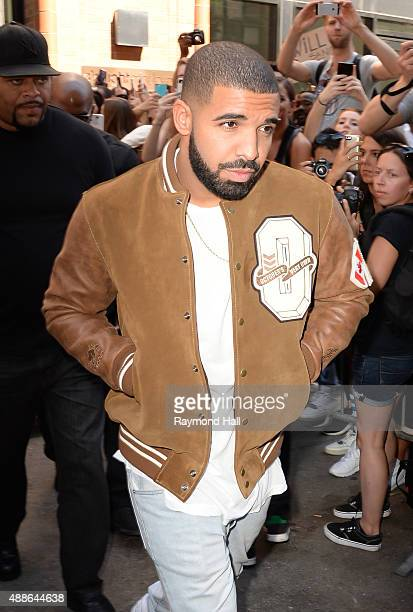 Drake leaves Kanye West Yeezy Season 2 New York Fashion Week show at Skylight Modern on September 16 2015 in New York City