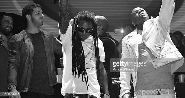 Drake Lil Wayne and Birdman on stage at stereo live at Lil Wayne Hosted Party at February 17 2013 in Houston Texas