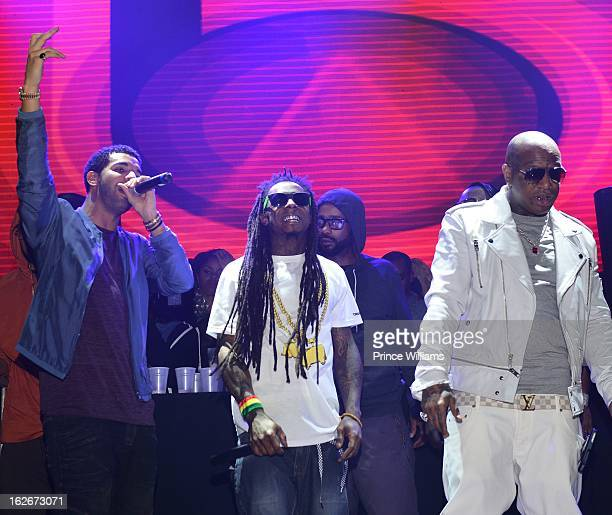Drake Lil Wayne and Birdman perform at Stereo Live at Lil Wayne Hosted Party at February 17 2013 in Houston Texas