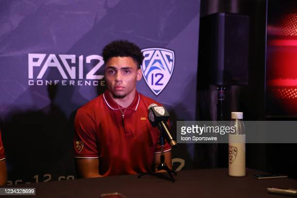 Drake London during the Pac-12 Football Media Day on July 27 at the W Hotel in Hollywood, CA.