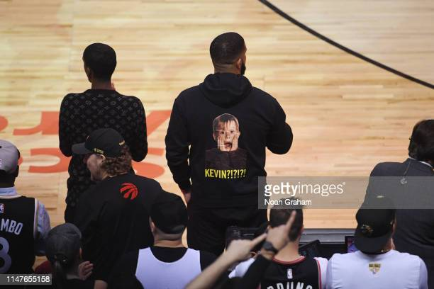 Drake looks on during Game Two of the NBA Finals between Golden State Warriors and Toronto Raptors on June 2 2019 at Scotiabank Arena in Toronto...