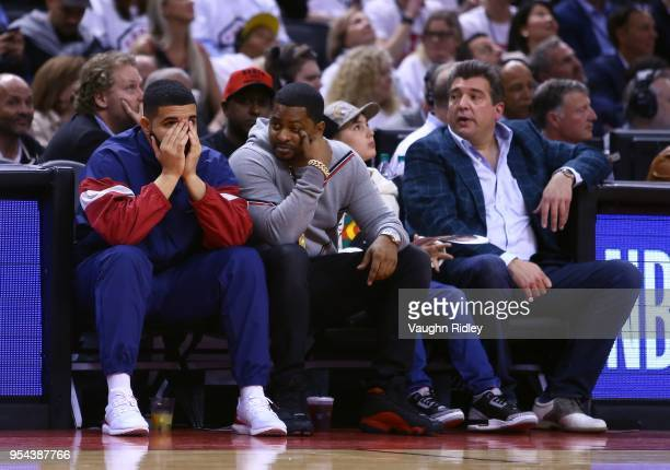 Drake looks on from his court side seat in the second half of Game Two of the Eastern Conference Semifinals between the Cleveland Cavaliers and the...