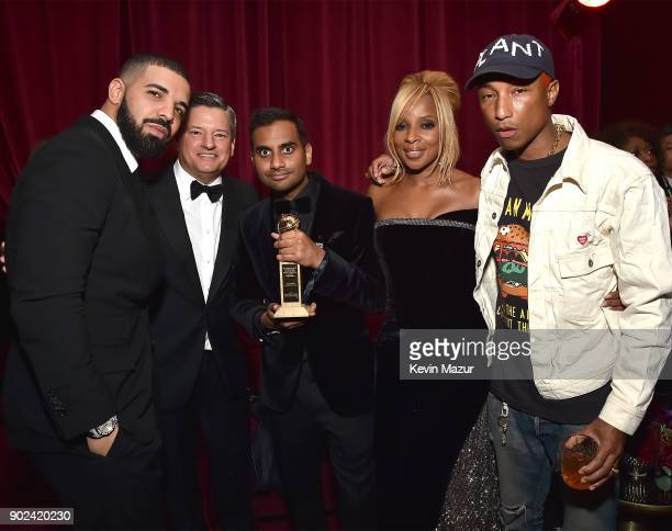 Drake Netflix Chief Content Officer Ted Sarandos Aziz Ansari Mary J Blige and Pharrell Williams attend the Netflix Golden Globes after party at...
