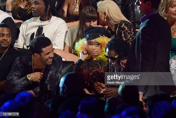 Drake Nicki Minaj and Lil Wayne during the 2012 MTV Video Music Awards at Staples Center on September 6 2012 in Los Angeles California