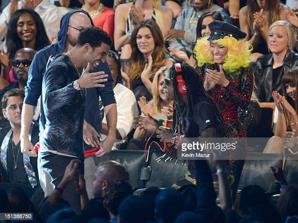 Drake Nicki Minaj and Lil Wayne during the 2012 MTV Video Music Awards at Staples Center on September 6 2012 in Los Angeles California