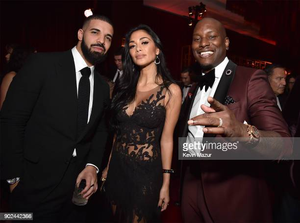 Drake Nicole Scherzinger and Tyrese Gibson attend the Netflix Golden Globes after party at Waldorf Astoria Beverly Hills on January 7 2018 in Beverly...