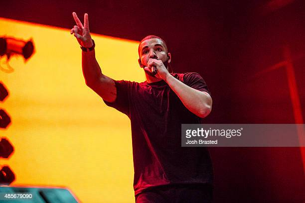 Drake performs at Lil Weezyana Festival at Champions Square on August 28 2015 in New Orleans Louisiana