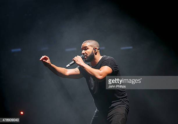 Drake performs at the New Look Wireless Birthday Party at Finsbury Park on June 28 2015 in London England