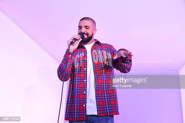 Drake performs before the game between the Toronto Raptors and the Cleveland Cavaliers on November 25 2015 at the Air Canada Centre in Toronto...