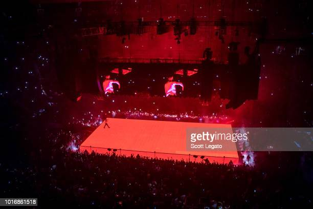 Drake performs during the Aubrey and The Three Migos Tour at Little Caesars Arena on August 14 2018 in Detroit Michigan