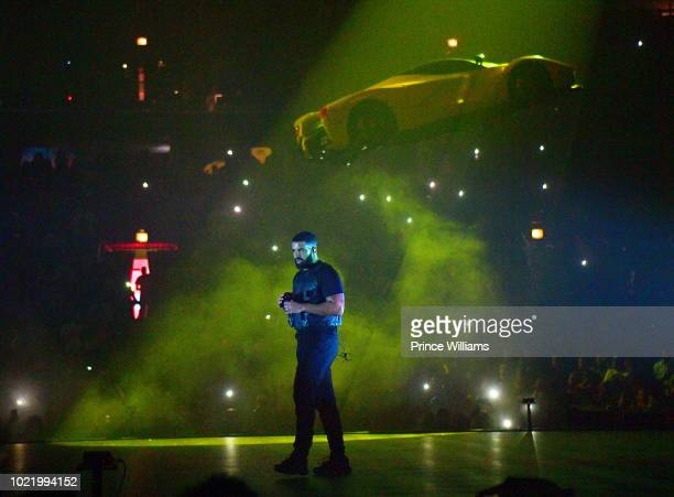 Drake performs in Concert at Aubrey The Three Amigos Tour Chicago Illinois at United Center on August 17 2018 in Chicago Illinois