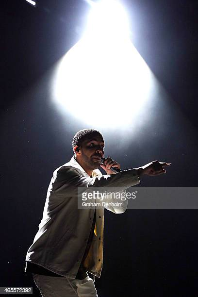 Drake performs on stage during Future Music Festival 2015 at Flemington Racecourse on March 8 2015 in Melbourne Australia