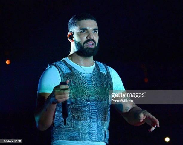 Drake performs onstage during the Final Stop of 'Aubrey The three Amigos Tour' at State Farm Arena on November 18 2018 in Atlanta Georgia