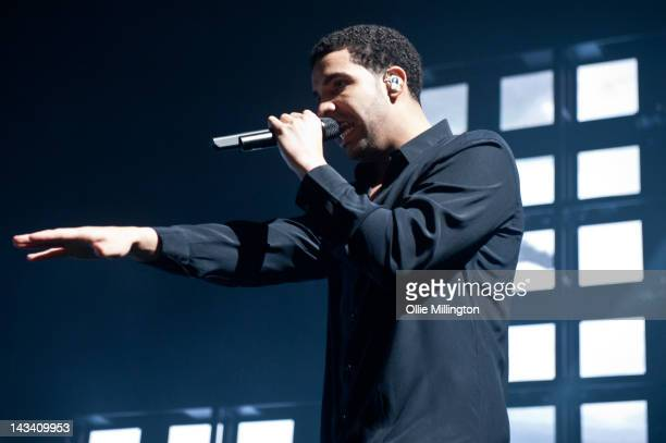 Drake performs onstage during the last night of the 2012 Club Paradise European Tour tour at Nottingham Capital FM Arena on April 25 2012 in...