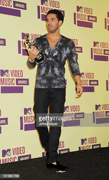 Drake poses in the press room during the 2012 MTV Video Music Awards at Staples Center on September 6 2012 in Los Angeles California