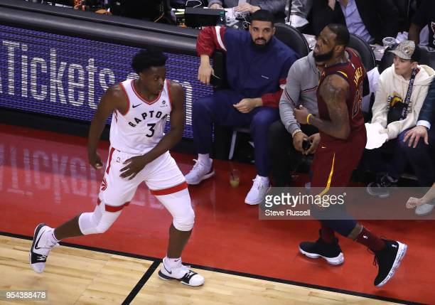 TORONTO ON MAY 3 Drake sits quietly after Cleveland Cavaliers forward LeBron James hit for a two pointer as the Toronto Raptors lose game two 128110...