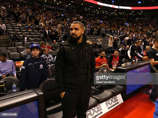 Drake team's ambassador of the Toronto Raptors before the game against the Golden State Warriors on December 5 2015 at Air Canada Centre in Toronto...