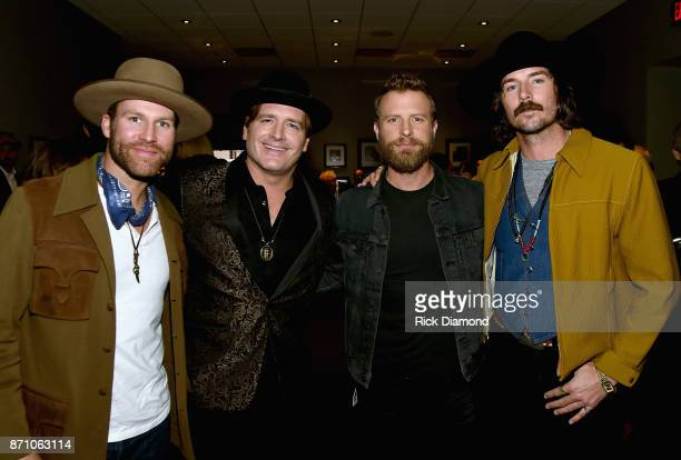 Drake White Jerrod Niemann Dierks Bentley and Mark Wystrach attend the 55th annual ASCAP Country Music awards at the Ryman Auditorium on November 6...
