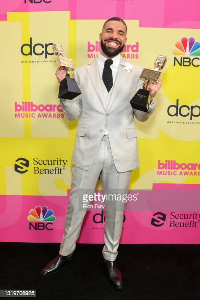 Drake, winner of the Artist of the Decade Award, poses backstage for the 2021 Billboard Music Awards, broadcast on May 23, 2021 at Microsoft Theater...
