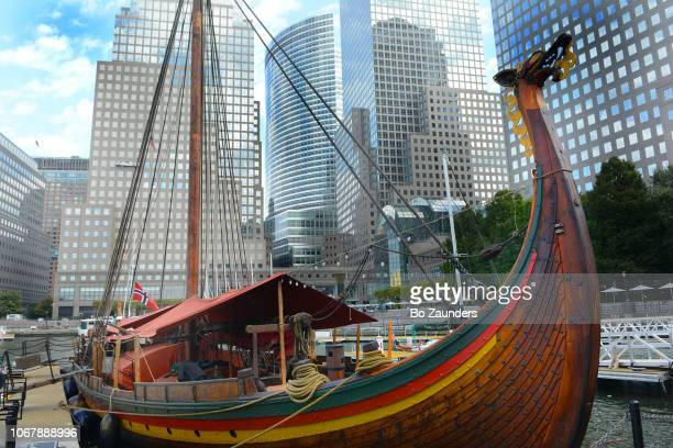 Draken Harald Hårfagre, the largest, reconstructed Viking ship, in the North Cove Marina by Brookfield Place in Manhattan