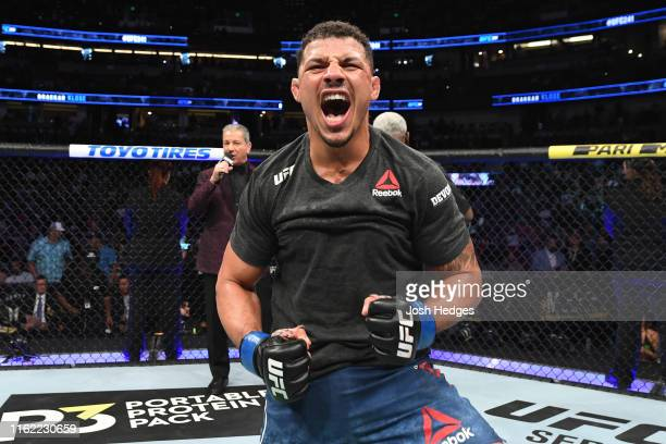 Drakkar Klose celebrates his victory over Christos Giagos in their lightweight bout during the UFC 241 event at the Honda Center on August 17, 2019...