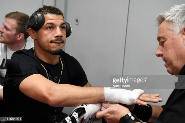 Drakkar Klose has his hands wrapped prior to his fight during the UFC 248 event at T-Mobile Arena on March 07, 2020 in Las Vegas, Nevada.