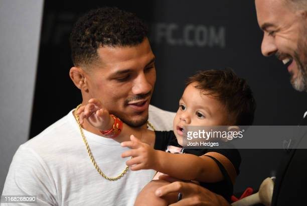 Drakkar Klose interacts with media during the UFC 241 Ultimate Media Day at the Hilton Anaheim hotel on August 15, 2019 in Anaheim, California.