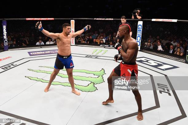 Drakkar Klose taunts Marc Diakiese of England in their lightweight bout during The Ultimate Fighter Finale at T-Mobile Arena on July 7, 2017 in Las...