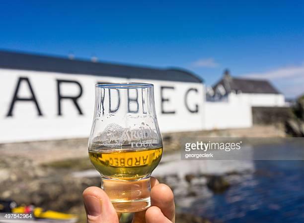 Dram of Ardbeg at the distillery on Islay