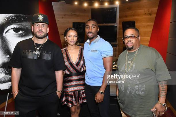 DJ Drama actress Kat Graham actor Demetrius Shipp Jr and producer LT Hutton attend 'All Eyez On Me' QA at Means Street Studios on June 8 2017 in...