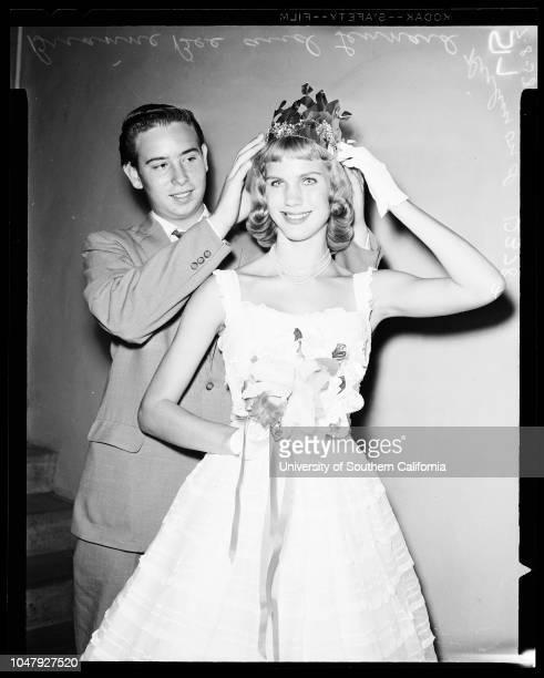 Drama Association queen 8 July 1958 Brianne Bee 16 years Lennard Richmond Caption slip reads 'Photographer Mack Date Reporter Farrell Assignment...