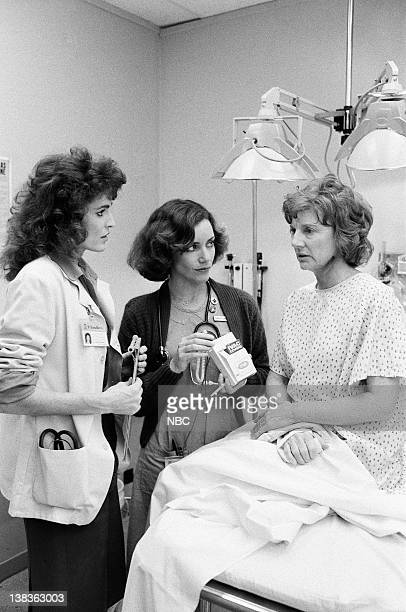 ST ELSEWHERE 'Drama Center' Episode 14 Pictured Cynthia Sikes as Dr Annie Cavanero Ellen Bry as Nurse Shirley Daniels Allyn Ann McLerie as Roxanne...