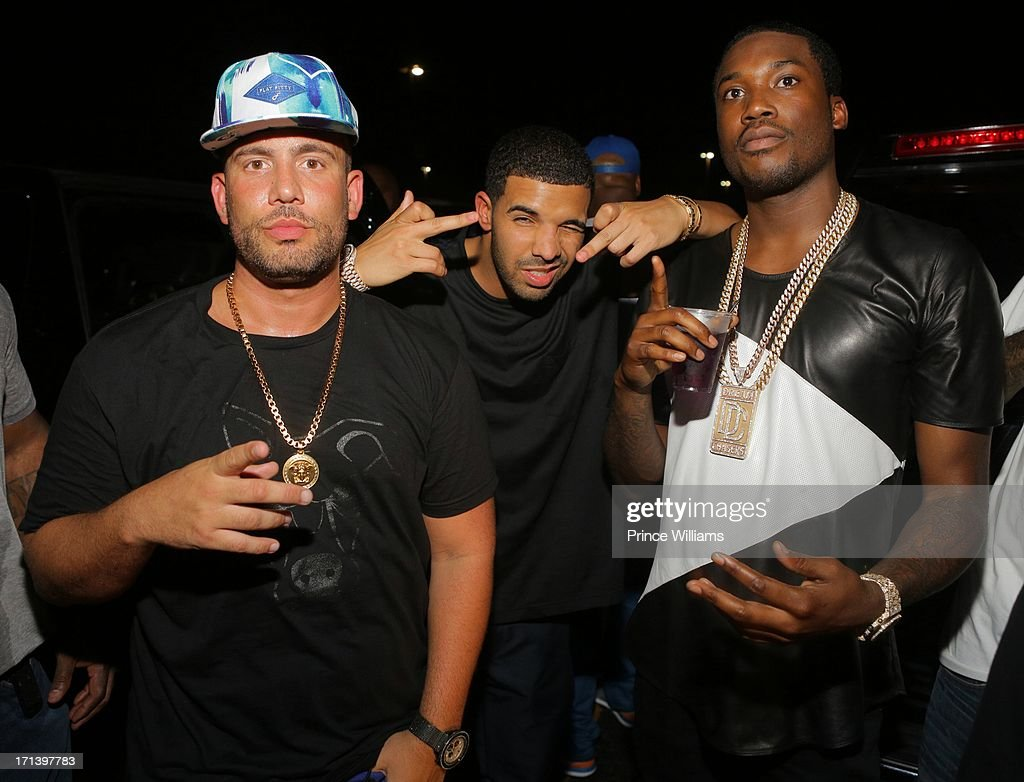 DJ Drama, Drake and Meek Mill attend the Birthday Bash Afterparty featuring Meek Mill, DJ Drama and French Montana at Mansion Elan on June 15, 2013 in Atlanta, Georgia.