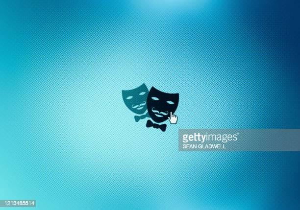 drama icon on desktop - mask infographic stock pictures, royalty-free photos & images