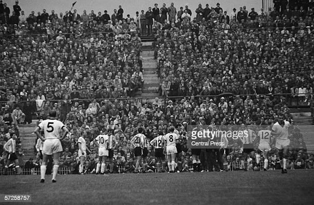 Drama in the 65th minute of the Group B match between Argentina and West Germany at Villa Park during the 1966 World Cup in England 16th July 1966...
