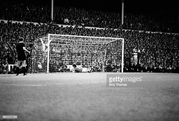 Drama in the UEFA Cup Final 2nd leg as Tottenham Hotspur goalkeeper Tony Parkes saves Anderlecht's fifth and final penalty taken by Arnor Gudjohnsen...
