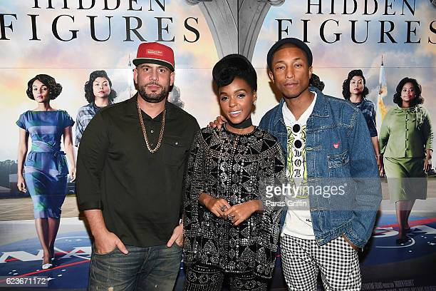Drama Janelle Monae and Pharrell Williams attends Hidden Figures advanced screening hosted by Janelle Monae Pharrell Williams at Regal Cinemas...