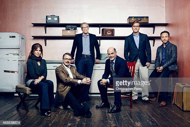 Drama Show Runners Aaron Sorkin Matthew Weiner Vince Gilligan Nic Pizzolatto Carlton Cuse Ann Biderman are photographed for The Hollywood Reporter on...