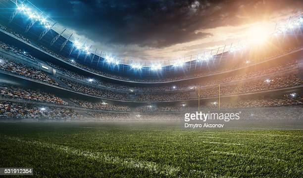 dramatic american football stadium - stadium stock pictures, royalty-free photos & images