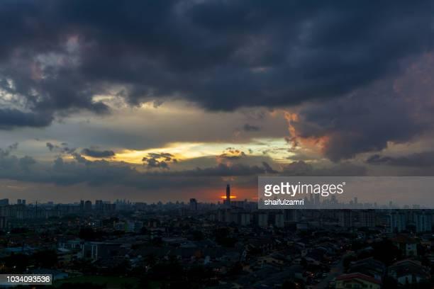 Dramatic and cloudy  over downtown Kuala Lumpur, Malaysia.