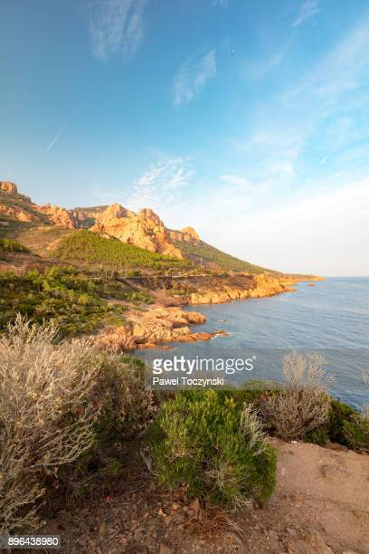 dramatic cap esterel coastline at fall-time sunset on french riviera, france - var stock pictures, royalty-free photos & images