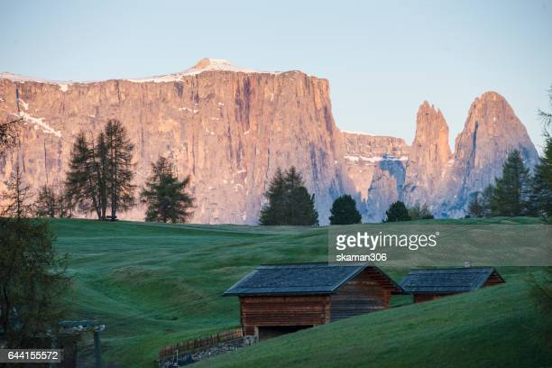 dramatic cloud and light at Italy alps di suisi dolomite