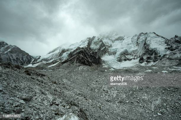dramatic cloud and silence landscape along on the ways to everest basecamp  near solokhumbu region nepal - yak stock pictures, royalty-free photos & images