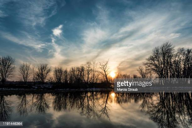 dramatic clouds and trees in winter sunset - december stock pictures, royalty-free photos & images