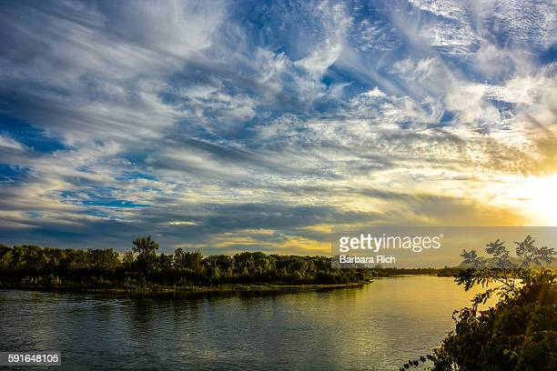 Dramatic clouds in the sky on the Sacramento river
