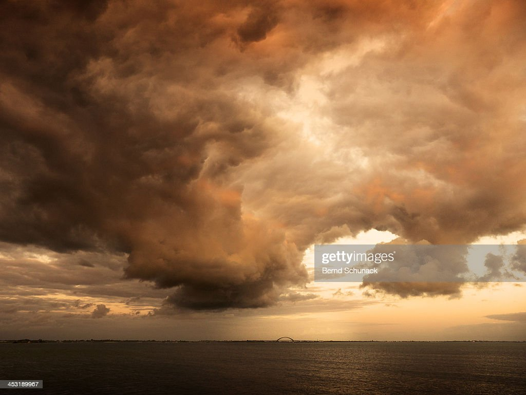 Dramatic Clouds Over Seascape : Stock Photo
