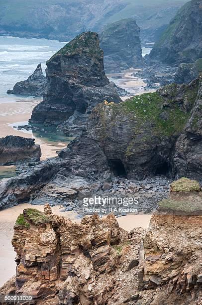 Dramatic coast scenery, Bedruthan steps, Cornwall