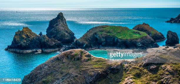 Dramatic coastal scenery at Kynance Cove on the Lizard peninsula in southern Cornwall England United Kingdom